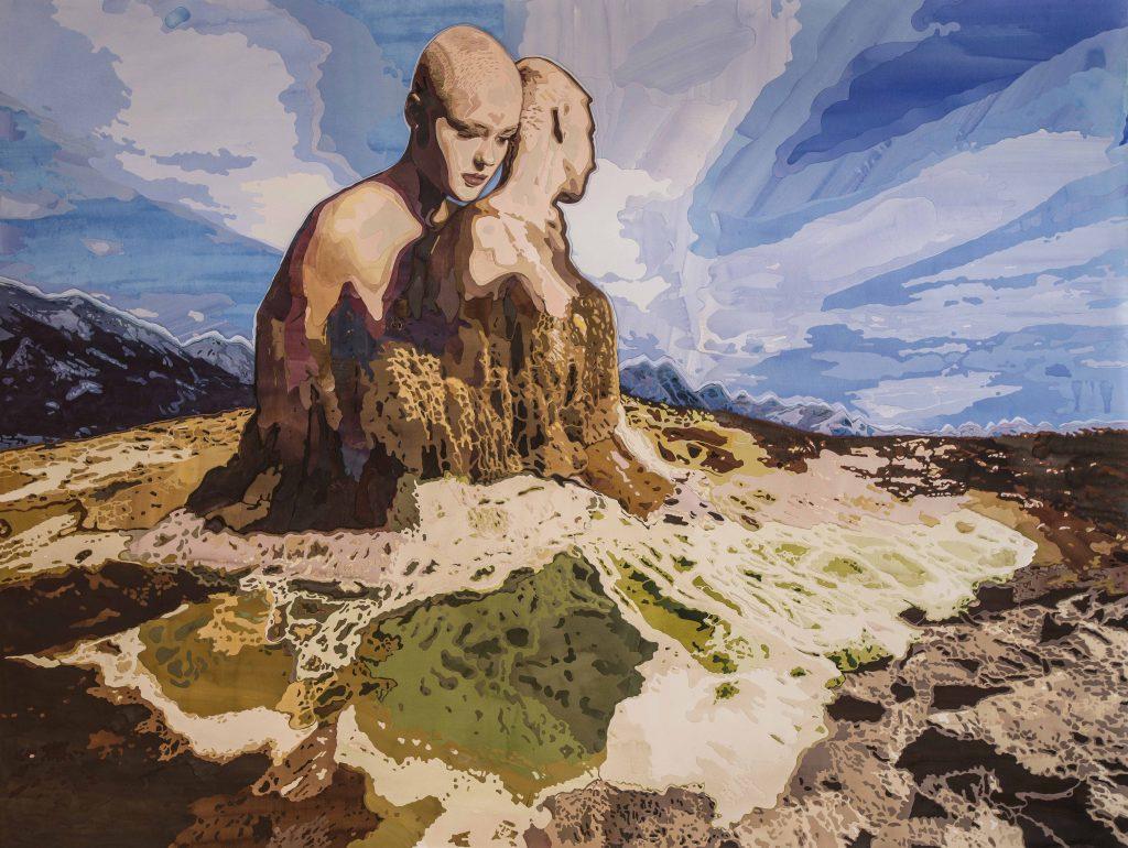 Halil Vurucuoğlu - 'Self&Ego', 2015, Elle kağıt kesme üzerine suluboya, 140x185 cm