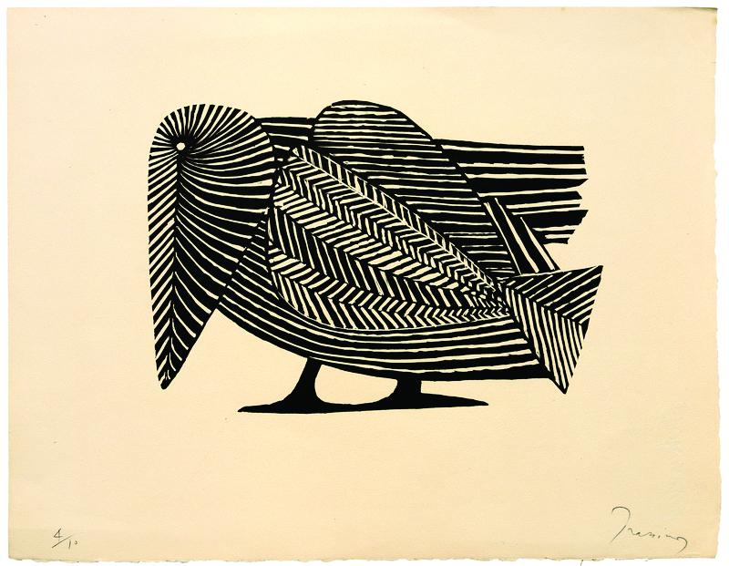 Mario Prassinos, Kuzgun (1952). Ahşap gravür, 28 x 36 cm. Centre d'Archi...